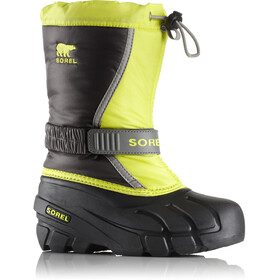 Sorel Youth Flurry Boots Dark Grey/Warning Yellow